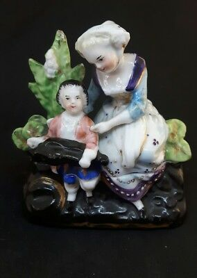 Antique Fairing Box - Mother & Child With Hurdy Gurdy