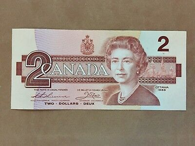 1986 Canadian $2 bill UNC - two dollar note
