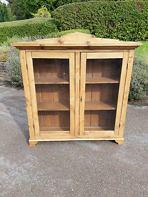 Pine Cabinet  with Glass Doors