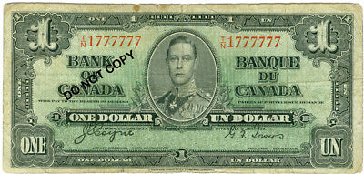 $1.00 Canada 1937, Neat Serial Number - Near Solid! Take a look.