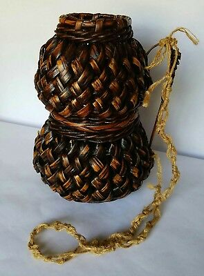 Vintage Wicker Rattan Bamboo Woven Basket Vessel with Handle