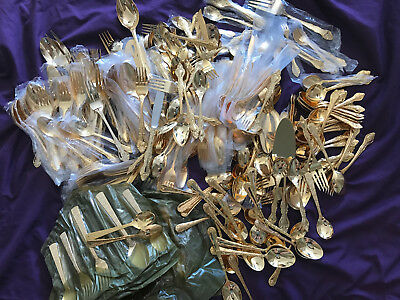 LOT 400 pcs vintage silverware gold plated spoons forks knifes