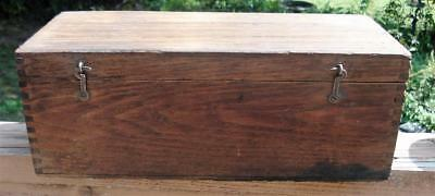 "Antique-Vintage-Wood-Box-Oak-Dovetail-Stock-Box for 2 1/2"" Pipe Stock Dies W Lid"