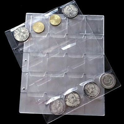 1 Sheet 20 Pockets Plastic Coin Holders Storage Collection Money Album Cases XC