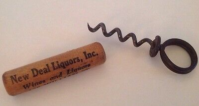 Vintage Advertising  Corkscrew Wooden New Deal Liquors NYC Financial District