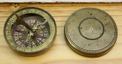 "Vintage  pocket compass 1.75"" in diameter fair condition screw-on top"