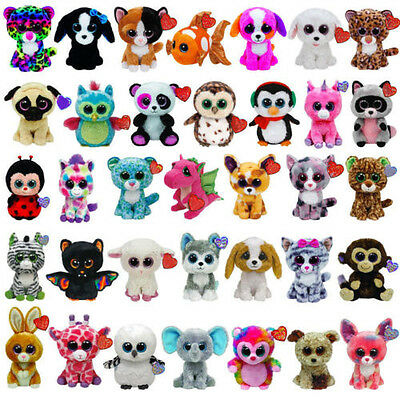 "6"" Ty Beanie Boo Babies Plush Soft Toy Big Eyes Stuffed Animals  Dolls Gift"