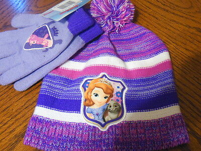 girls one size sophia the first beanie hat and gloves set nwt disney