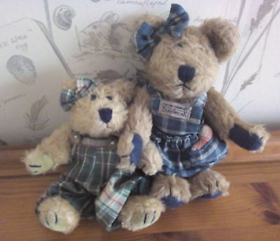 Boyd Bear Pair of Plush Teddy Bears Retired 1990s Preloved  Dungarees & Pinafore