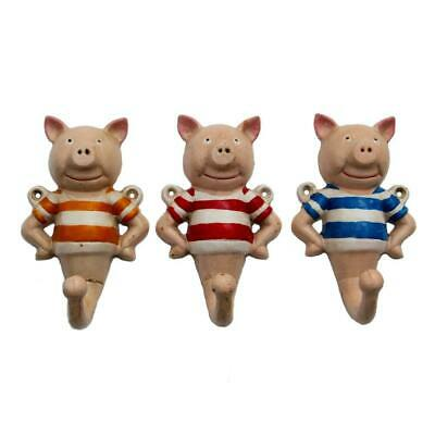 Three little pigs wall hooks in Blue, Red, Set of Three, Yellow