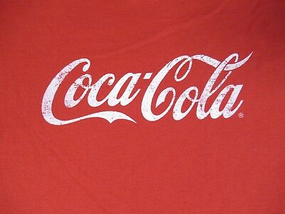 Coca-Cola Vintage - Distressed Classic Coke Graphic Logo Large Red T-Shirt K551