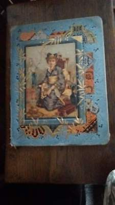 Victorian Japanese hand painted & embossed Geisha Girl Book Cover Piece of art