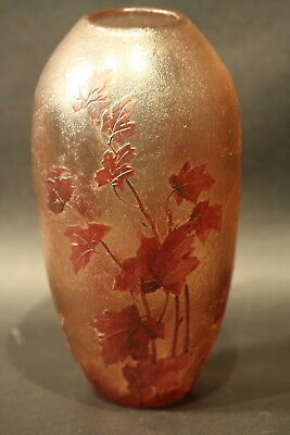 Vintage French Legras Signed Art Glass Cameo Decorative Vase Acid Etched Frosted