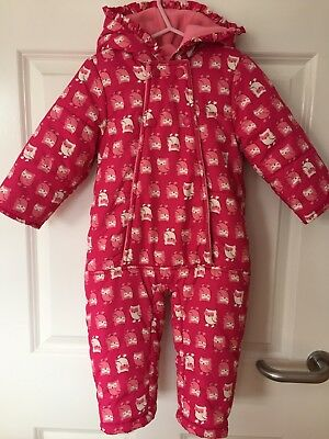 Baby Girl Snow Suit All In One Coat Pink Age 12-18 Months