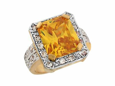10k or 14k Two-Tone Gold Simulated Citrine White CZ Antique Style Ladies Ring