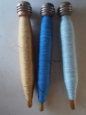 Vintage Lot of 3 Wooden Industrial Textile Bobbin Spool Quill w/Thread String...