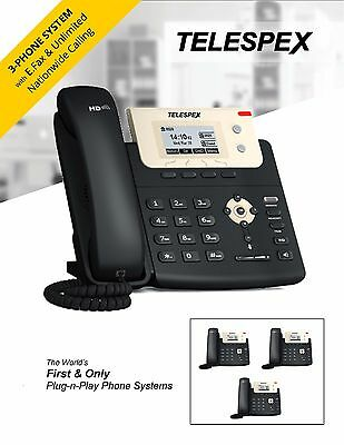 TELESPEX Plug-n-Play Phone System 3x T21 Phones & Fax - Business Office VoIP PBX
