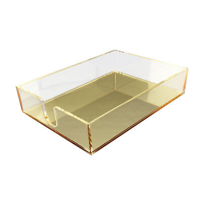 New! Deluxe Desktop Acrylic Notepad Tray - Clear/mirror Gold Acrylic Organizer