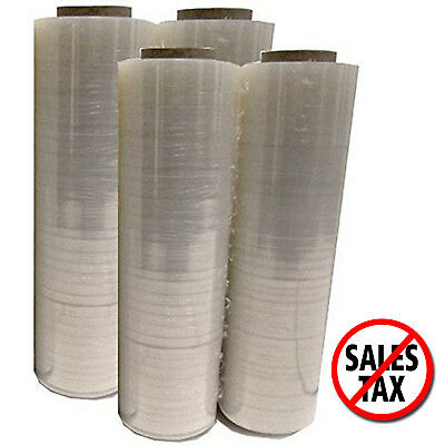 "4 Plastic Shrink Hand Stretch Wrap Roll 18"" x 1500' 80 Gauge Film Clear PVC Body"