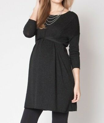 New Seraphine Maternity Iveta Charcoal Grey Knit Work Casual Belted Dress 6 8 10