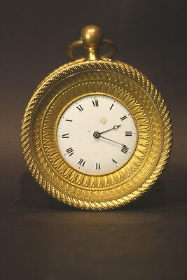 Antique 1880's-1920's French Gilded Travel Clock Working Condition No Reserve