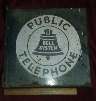 "VINTAGE METAL BELL SYSTEM PUBLIC TELEPHONE FLANGED DOUBLE-SIDED SIGN 18""x18"""
