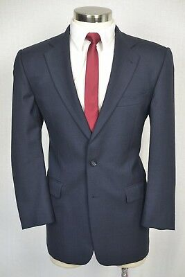 (40R) Burberry Men's Navy Blue Wool Classic Pleated Front 2 Piece Suit (34x29)