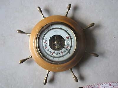 Made In West Germany - Vintage BAROMETER - Ship Wheel Brass Fittings