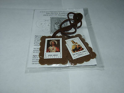 Brown Scapular With Info Leaflet Christian Brand New Buy 2 Get 1 Free Free P&p