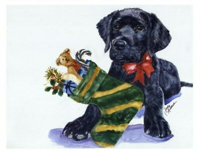 Adorable 10-pack Christmas Holiday Cards W/ Envelopes- Black Labrador Retriever