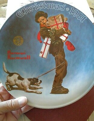 Bradford exchange Norman Rockwell Knowles Christmas 1981 collectible plates