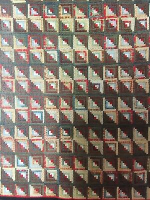 1870's Wool Challis Log Cabin Antique Quilt~AMAZING!