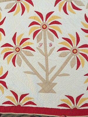 Magnificent 1890's Palm Tree Appliqué Antique Quilt