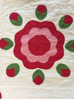 1860's Red And Green Appliqué Antique Quilt Feather Wreath