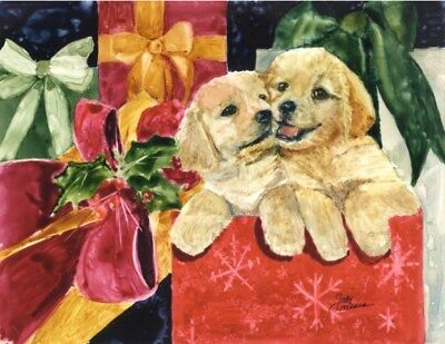 Adorable 10-pack Christmas Holiday Cards W/ Envelopes- Golden Retreiver