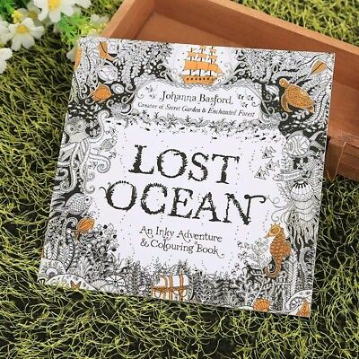 Children Kids Adult English Lost Ocean Drawing Painting Coloring Books