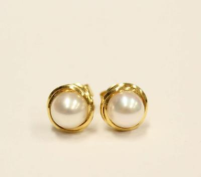 14K yg Pearl Stud Earrings 6.2mm pearls Excellent condition weight 1.68 grams