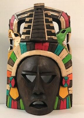 Colorful Mayan Aztec Tribal Wood Wooden Mask Standing Or Wall Hanging Carved