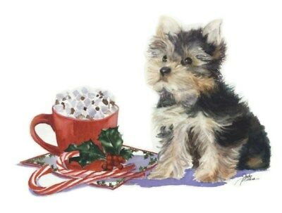 10-pack Christmas Holiday Cards W/ Envelopes- Yorkie w/ Hot Chocolate