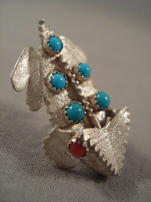Rare Important Navajo Benny Yazzie Turquoise Coral Silver Toad Pin
