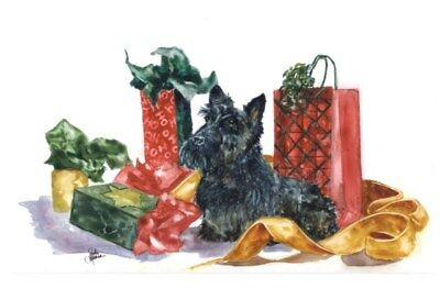10-pack Christmas Holiday Cards W/ Envelopes- Scottish Terrier