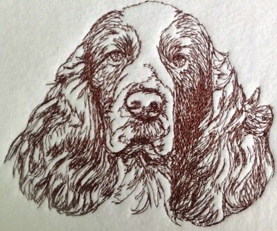 Completed Embroidery Liver and White English Springer Spaniel Dog