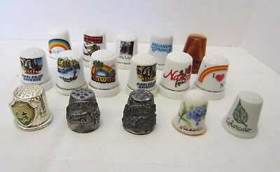 Vintage assorted state thimbles set of 16-assorted shapes and sizes
