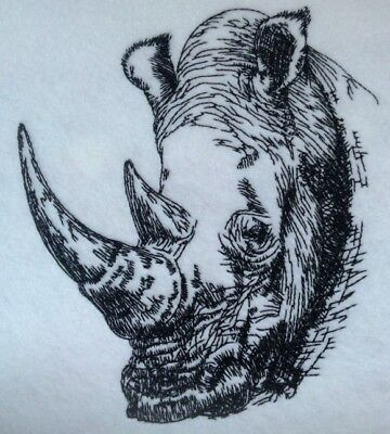 Completed Embroidery Rhino