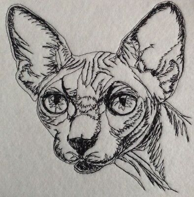 Completed Embroidery Sphynx Cat 2