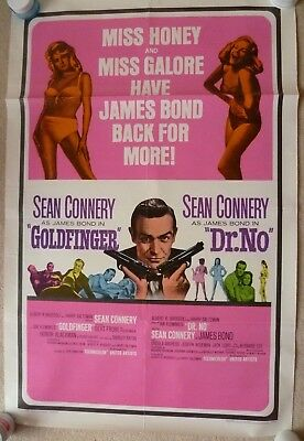 James Bond Goldfinger/dr No- Double Bill-Original 1966 Us 1 Sheet 27 X 41 Inches