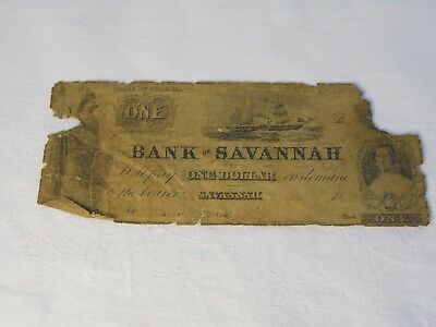 Antique Bank of Savannah, Georgia $1 Civil War Currency Note