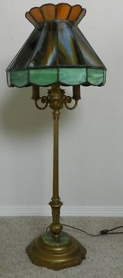 1920's Antique Rembrandt corner lamp leaded stained glass shade & brass stem