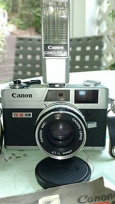 Canon Canonet QL17,lllG Dedicated flash,filter, and case. All functions tested.
