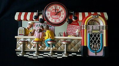 VINTAGE Coca Cola Coke Counter Sign Wall Clock Diner Ice Cream  - works